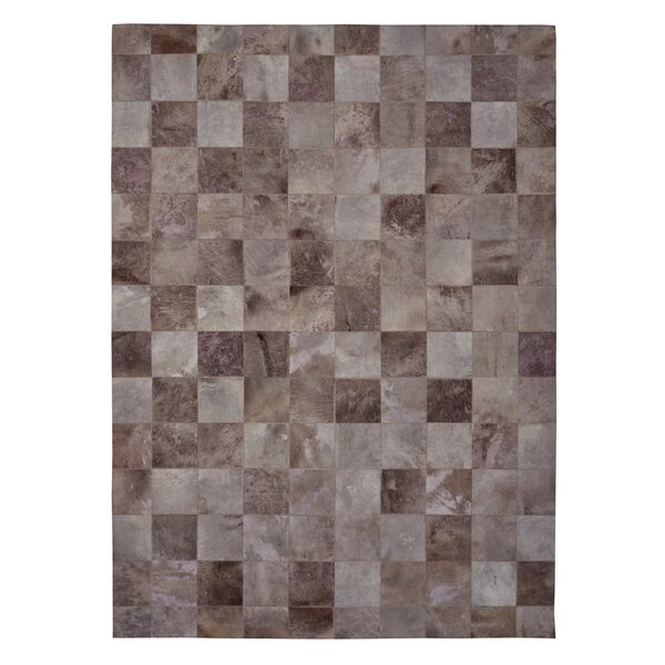 Natural Hide Hand-Tufted Cowhide Ivory/Brown Area Rug by Exquisite Rugs