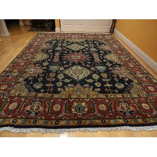 Reviews One-of-a-Kind Flynn Hand-Knotted 4'10 x 5'1 Wool Black/Red/Beige Area Rug By Isabelline