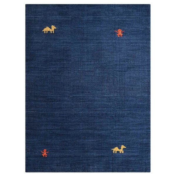 Manns Hand-Woven Wool Blue Area Rug by Union Rustic