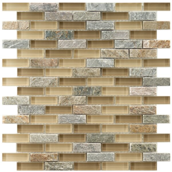 Sierra 0.58 x 1.88 Glass and Natural Stone Mosaic Tile in Cream/Gray by EliteTile