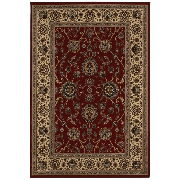 Shelburne Traditional Red/Ivory Area Rug by Astoria Grand
