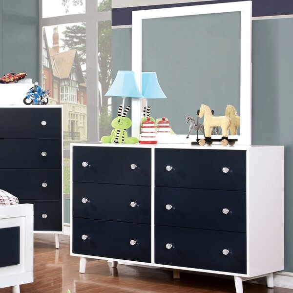 Sea Dog 6 Drawer Double Dresser with Mirror by Red Barrel Studio
