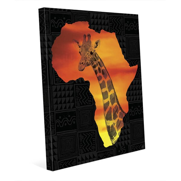 Africa Silhouette - Giraffe Graphic Art on Wrapped Canvas by Click Wall Art