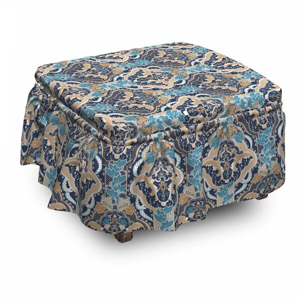 Asian South Eastern Design 2 Piece Box Cushion Ottoman Slipcover Set By East Urban Home