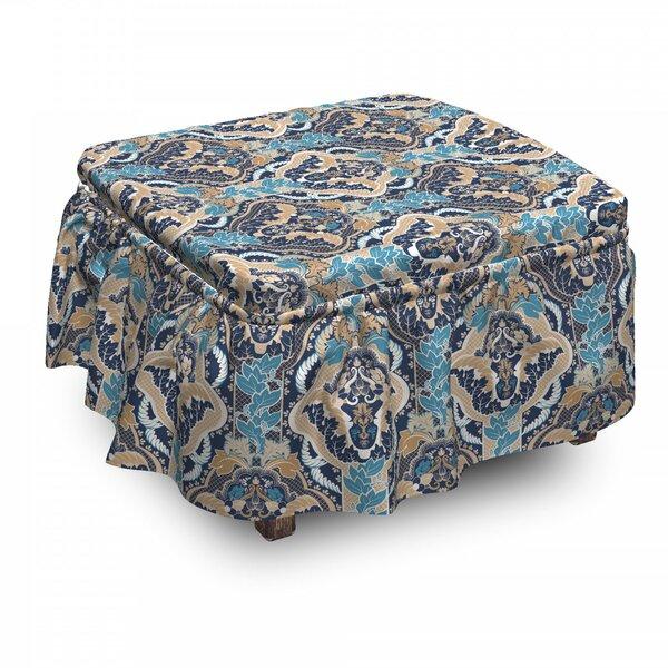 Check Price Asian South Eastern Design 2 Piece Box Cushion Ottoman Slipcover Set