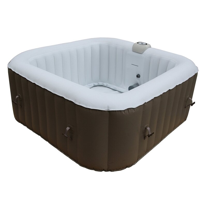 ALEKO Square Portable Hot Tub 4-Person 130-Jet Inflatable Plug and ...