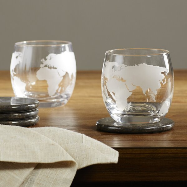 Etched Globe Whiskey Glass (Set of 2) by Wine Enthusiast
