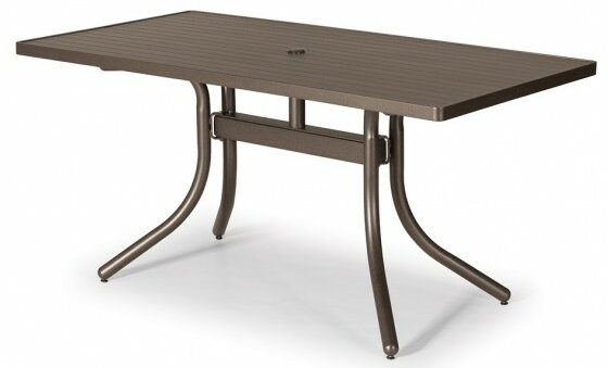 Aluminum Slat 60 Rectangular Dining Table by Telescope Casual