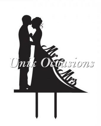 Bride and Groom Silhouette Mr. & Mrs. Cake Topper by Unik Occasions