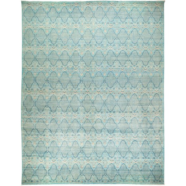 One-of-a-Kind Heim Hand Knotted Wool Blue Area Rug by Bloomsbury Market