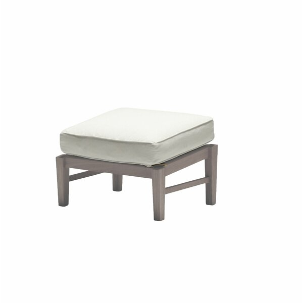 Croquet Outdoor Teak Ottoman with Cushion by Summer Classics