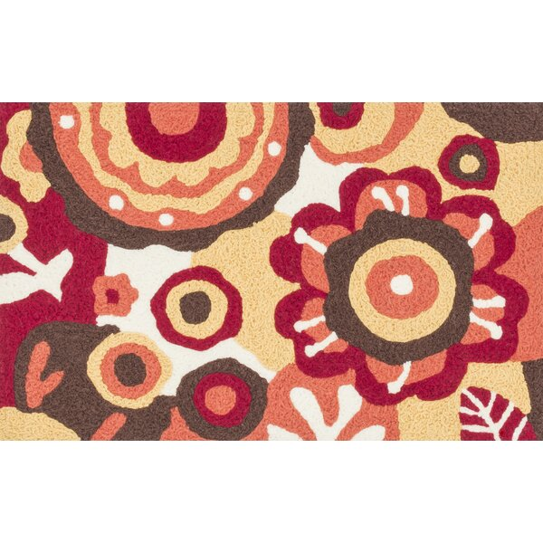 Jiles Red/Yellow Area Rug by Zoomie Kids