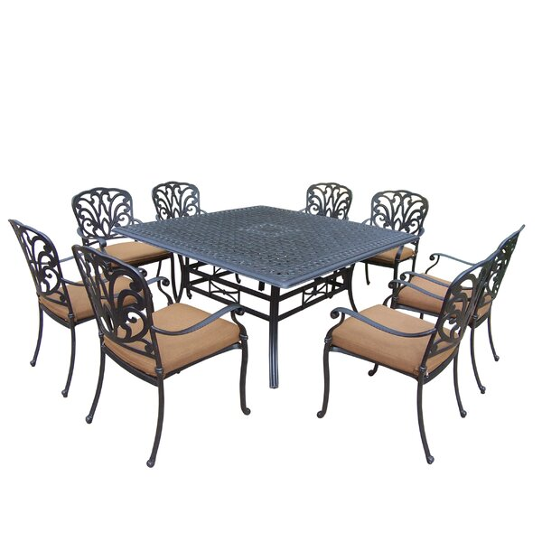 Bosch Square 9 Piece Dining Set with Cushions by Darby Home Co