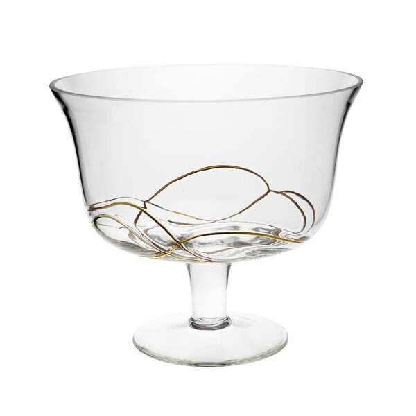 Griego Footed Round Glass Salad Bowl by Orren Ellis