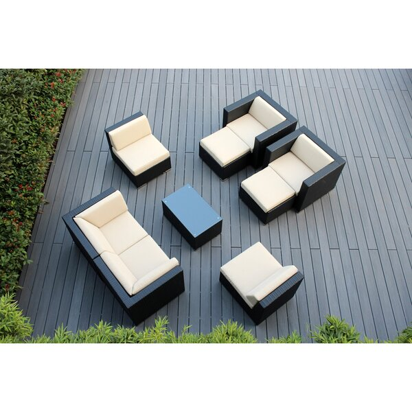 Bannan 9 Piece Rattan Sunbrella Sectional Seating Group with Cushions by Orren Ellis