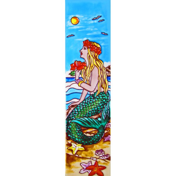 Mermaid with a Hibiscus Tile Wall Decor by Continental Art Center
