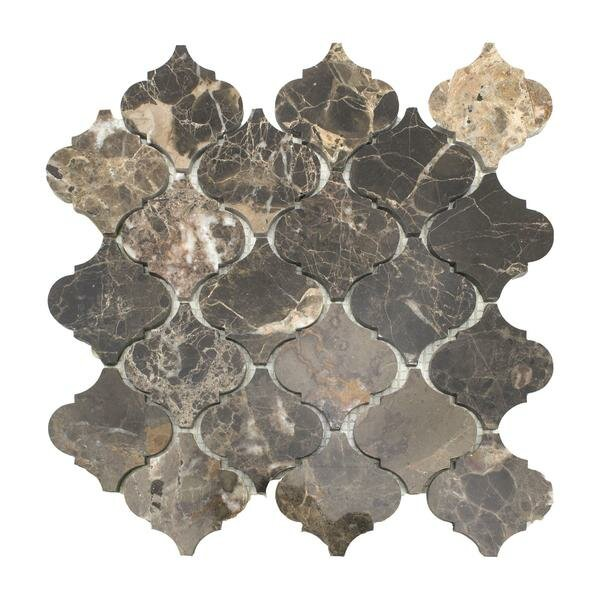 Lantern Emperador 3 x 3 Marble Mosaic Tile in Dark by Matrix Stone USA