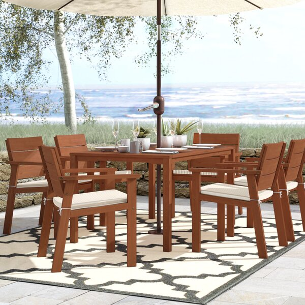 Gaeta 7 Piece Dining Set with Cushions by Beachcrest Home