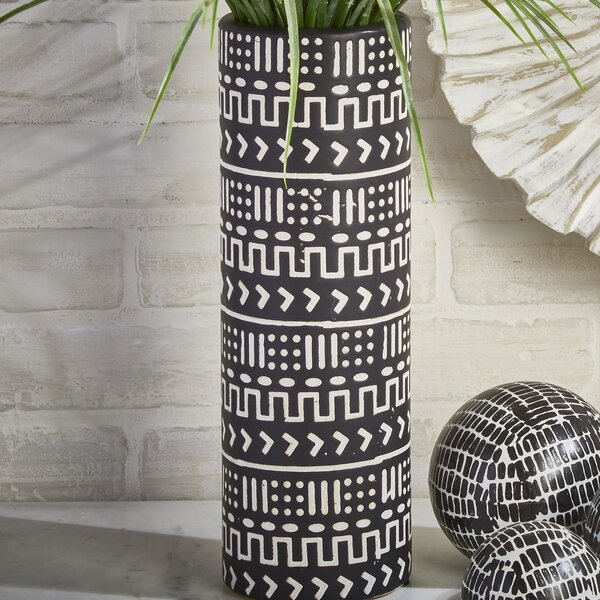 Decorative Cylinder Ceramic Table Vase by Union Rustic