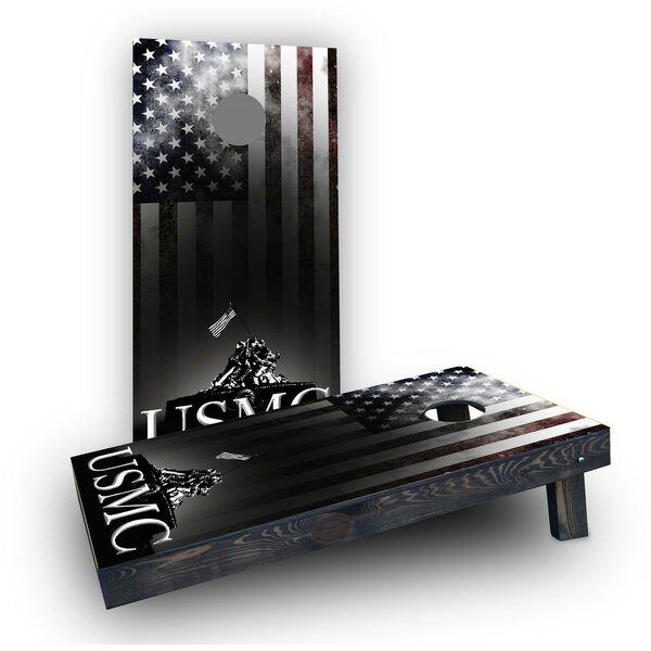 USMC Distressed American Flag Cornhole (Set of 2) by Custom Cornhole Boards