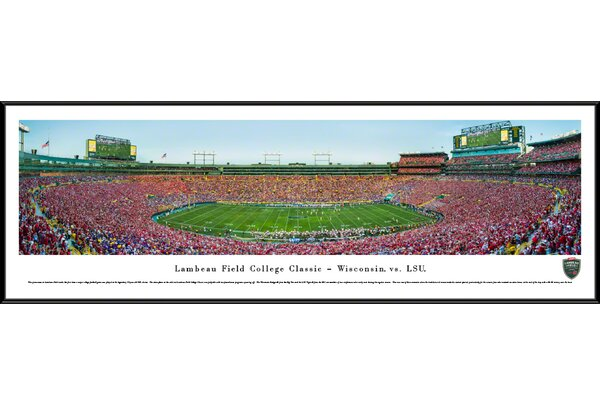 NCAA Lambeau Field College Classic 2016 Wisconsin vs LSU Framed Photographic Print by Blakeway Worldwide Panoramas, Inc