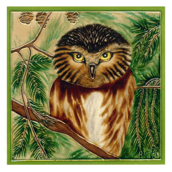 Owl Framed Tile Wall Decor by Continental Art Center