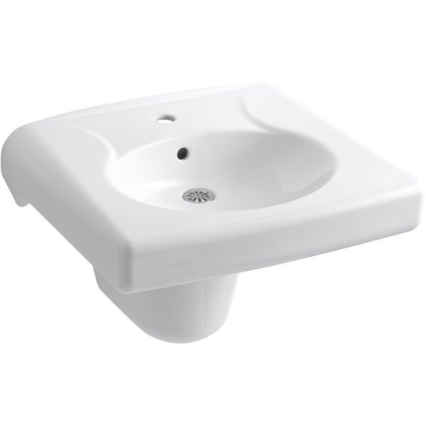 Brenham™ Wall-Mounted or Concealed Carrier Arm Mounted Commercial Bathroom Sink with Single Faucet Hole and Shroud, Antimicrobial Finish by Kohler
