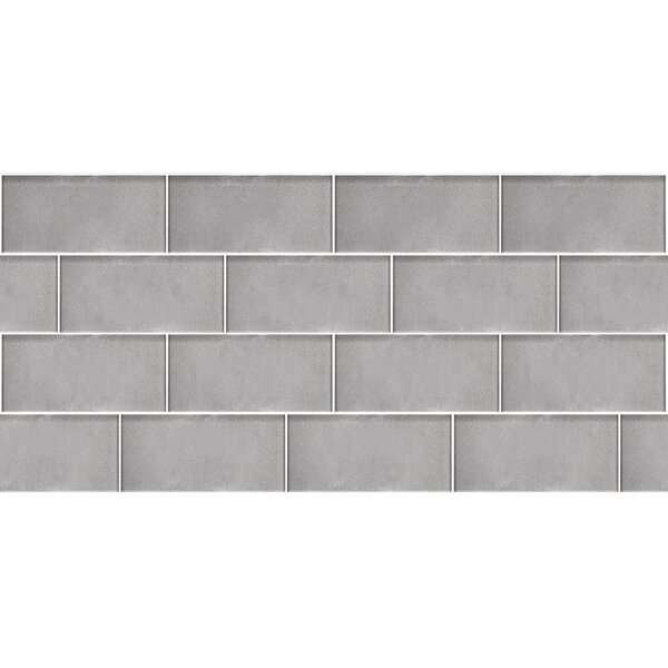 Secret Dimensions 3 x 6 Glass Subway Tile in Dark Silver by Abolos