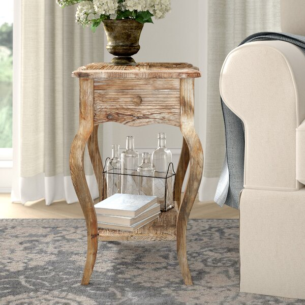 Francoise Driftwood End Table With Storage by Lark Manor