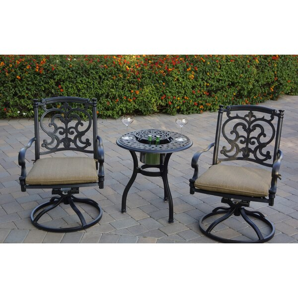 Baughman 3 Piece Bistro Set with Cushions by Fleur De Lis Living