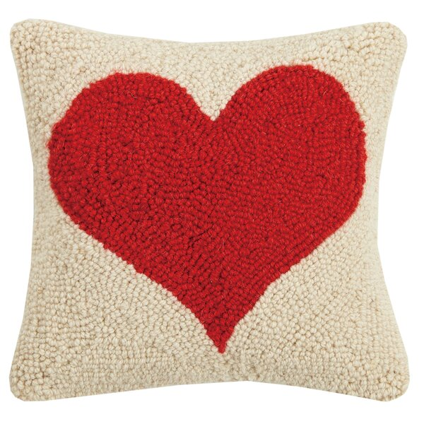 Clarion Red Heart Hook Wool Throw Pillow by Winston Porter