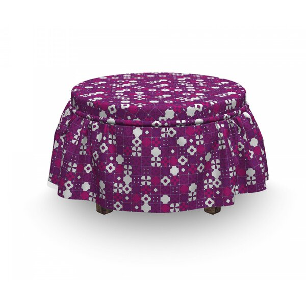 Tile Purple Shades Ottoman Slipcover (Set Of 2) By East Urban Home
