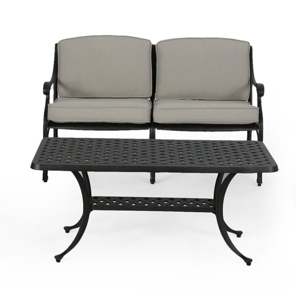 Londyn Outdoor 2 Piece Deep Seating Group with Cushions by Fleur De Lis Living