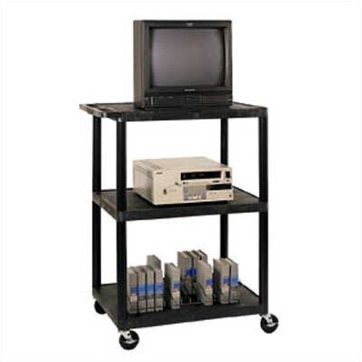 High Low Priced Open Shelf Table AV Cart with Big Wheels by LuxorHigh Low Priced Open Shelf Table AV Cart with Big Wheels by Luxor