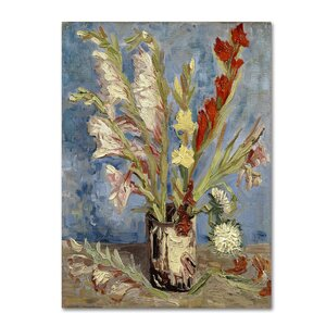 'Vase With Gladioli And China Asters' Print on Wrapped Canvas by Trademark Fine Art