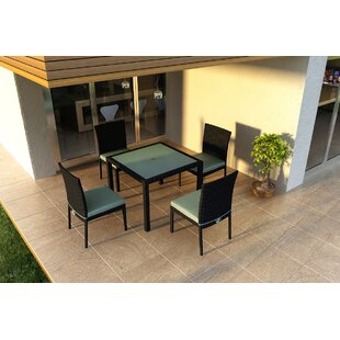 Hermina 5 Piece Sunbrella Dining Set with Cushions By Latitude Run