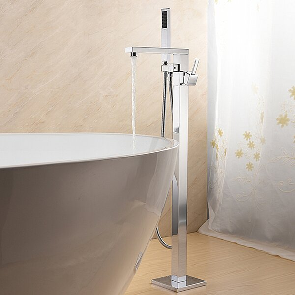 SevenFalls Single Handle Floor Mounted Freestanding Tub Filler with Hand Shower by Eisen Home