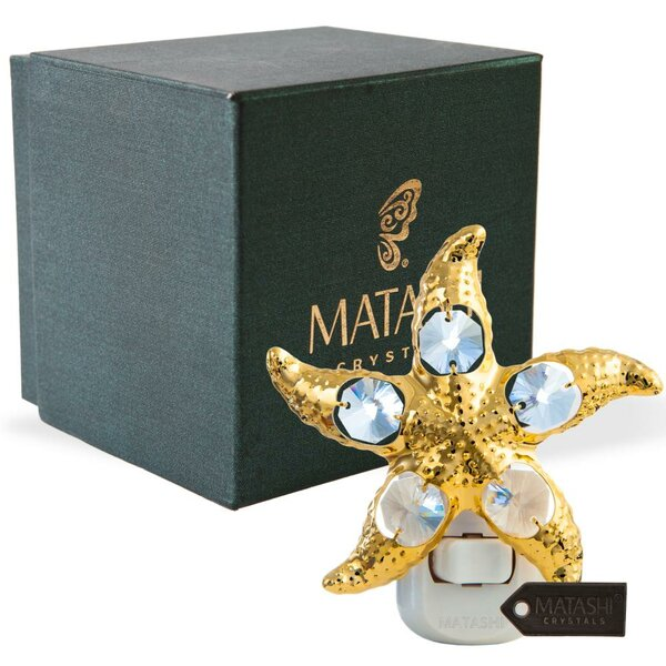 24K Gold Plated Crystal Studded Star Fish LED Night Light by Matashi Crystal