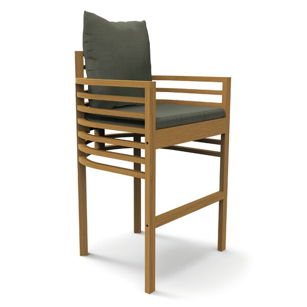 30 Teak Patio Bar Stool with Cushion by Seasonal Living