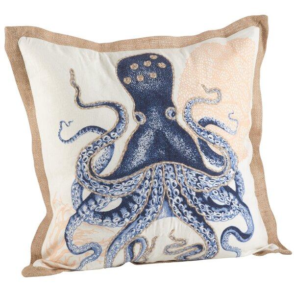 Neptunian Octopus Cotton Throw Pillow by Saro