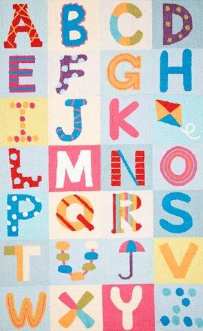 Uzbek Alphabet Boxes Multi Area Rug by nuLOOM