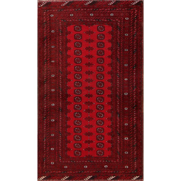Bodnar Balouch Afghan Traditional Geometric Hand-Knotted Wool Red/Burgundy Area Rug by Bloomsbury Market