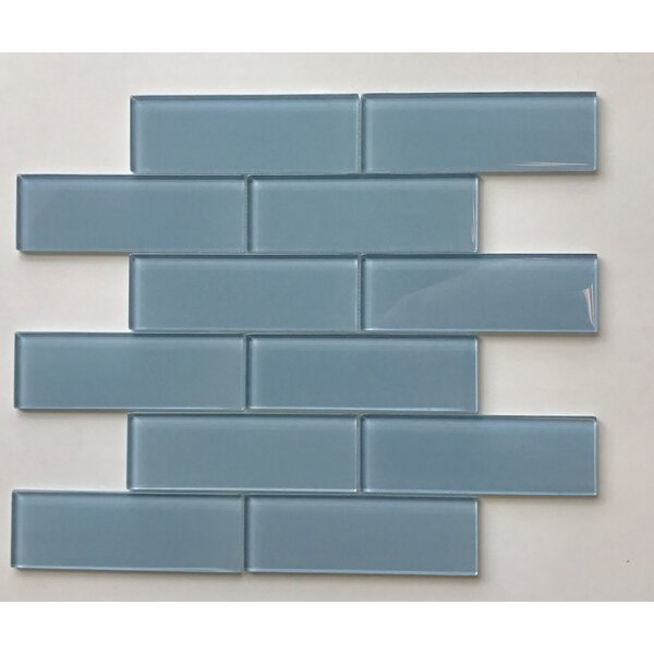 Granada Meshed Glass Subway 2 x 6 Glass Mosaic Tile in Platinum Blue by Vetromani