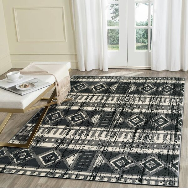 Virdi Anthracite Gray/Black Area Rug by Union Rustic