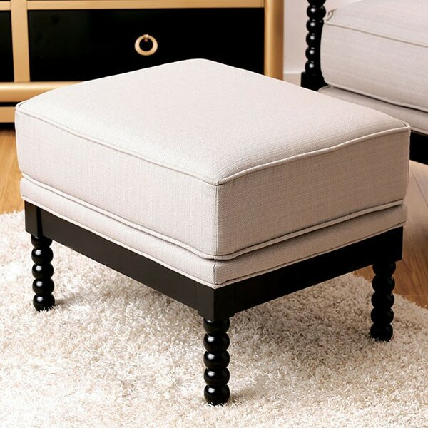 Carswell Plush Leather Ottoman by Charlton Home