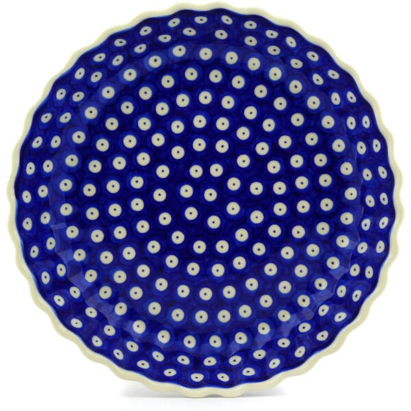 Blue Eyed Peacock Fluted Pie Dish by Polmedia