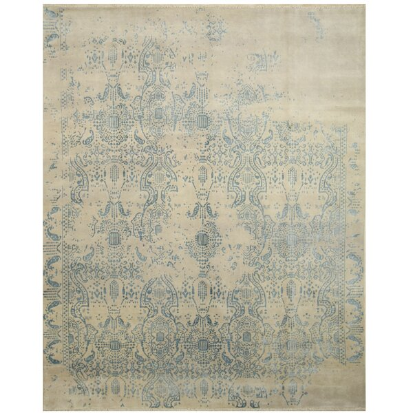 Madeline Erased Hand Knotted Ivory Area Rug by The Conestoga Trading Co.