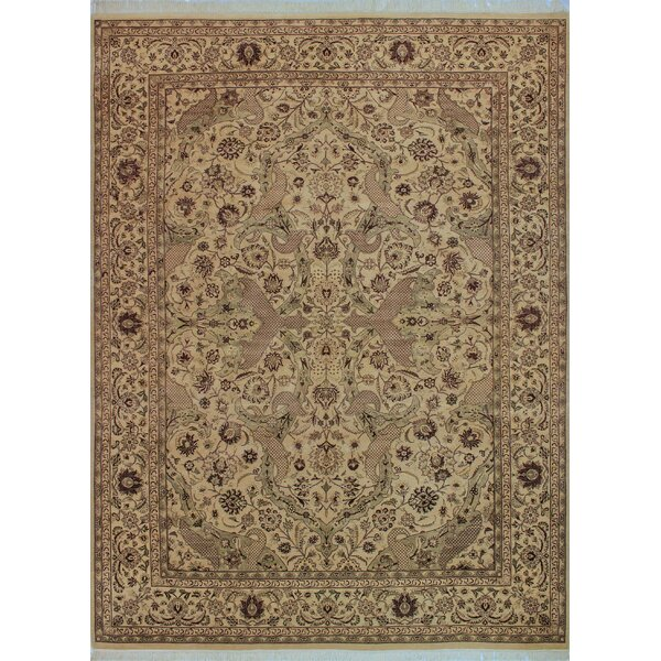 One-of-a-Kind Delron Hand-Knotted Wool Ivory/Tan Area Rug by Astoria Grand