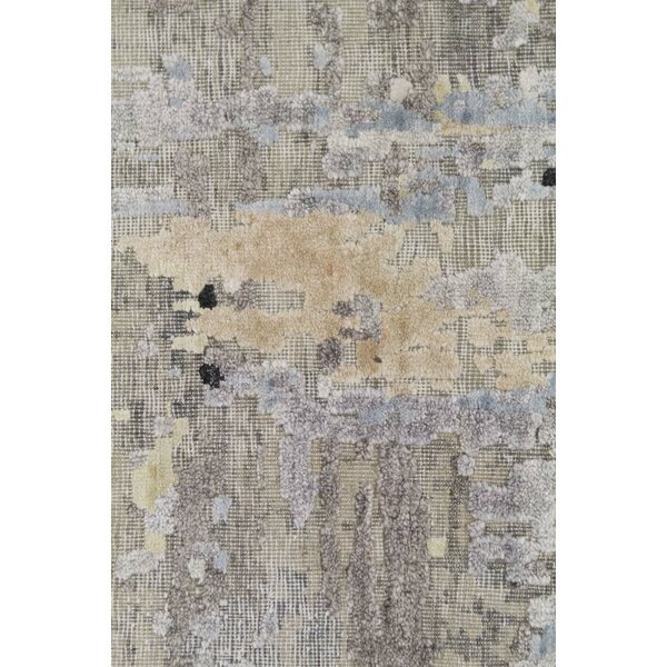 Abstract Hand-Knotted Gray/Beige Area Rug