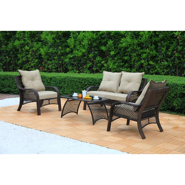 Edgington 4 Piece Rattan Sofa Seating Group with Cushions by Bay Isle Home